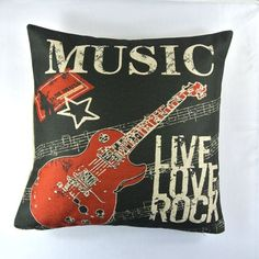 Rock and Roll Bedroom Accessories | New Black Red Rock And Roll Band Music Guitar Pop Art Pillow Case ...