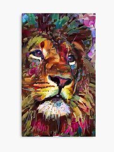 Colorful Lion Painting 2018 Canvas Print by erisian Lion Painting, Painting & Drawing, Acrylic Painting Animals, Three Canvas Painting, Texture Painting, Colorful Animals, Colorful Animal Paintings, Colorful Artwork, Lion Art