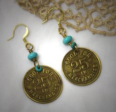 FREE SHIPPING Franklin Grill Coin Earrings Found by jeanettejanson, $19.99