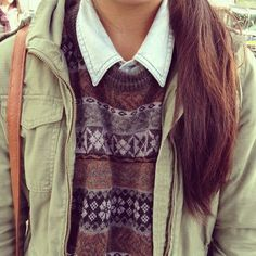 Chambray button-up under cute patterned sweater under olive green jacket.