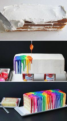 Rainbow effect with melted colored chocolate - This would be so fun to do for kids or kids at heart.