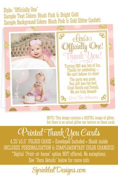 Photo Thank You Notecards 2 Photos Pink Gold by SprinkledDesign