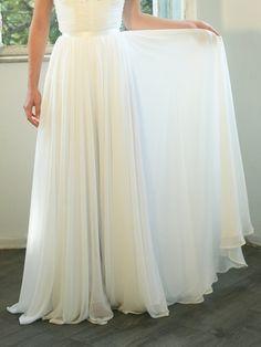 Custom made maxi chiffon wedding skirt by MotilFineDesign on Etsy