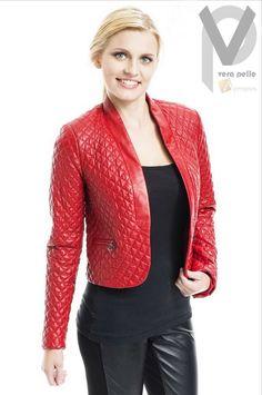 Vera Pelle Lederjacke Wattiert Damen Kurz Bolero Italy Nappa Rot Luxus Apropos