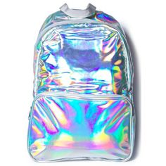 Holla Gram Backpack ($49) ❤ liked on Polyvore featuring bags, backpacks, daypack bag, holographic backpack, backpack bags, hologram bags and day pack backpack