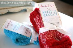 "Cute fuzzy sock gift idea for Christmas!! Plus free ""Baby it's cold outside"" printable!! I could give this to all my girlfriends for Christmas and not have to worry about breaking the bank."