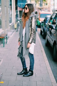 layered cozy boho look
