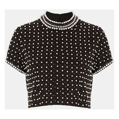 Topshop Embellished Crop Top (€81) ❤ liked on Polyvore featuring tops, shirts, crop tops, t-shirts, blusas, black, short sleeve crop top, embellished tops, topshop tops and embellished crop top