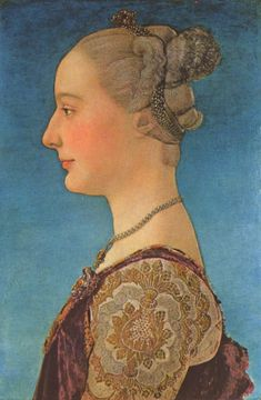 Antonio Pollaiuolo, Portrait of a Lady, ca. 1475 - Uffizi museum Florence (trying to figure out hair)