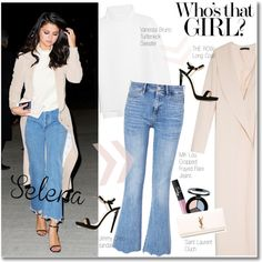 Selena Gomez by junglover on Polyvore featuring Vanessa Bruno, The Row, M.i.h Jeans, Jimmy Choo, Yves Saint Laurent, Smashbox and NARS Cosmetics