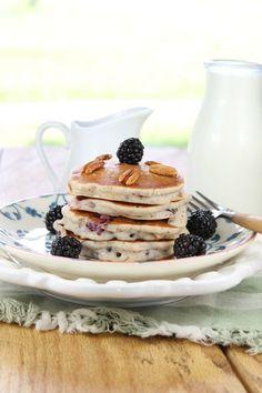 Gluten Free Blackberry Pecan Pancakes  from Miss in the Kitchen