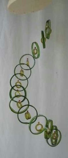 Cut wine bottle windchime