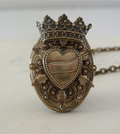 Locket Necklace - Steampunk Vintage Locket Heart and Crown Handmade Necklace - Queen of Hearts Going Gaga - Brass. $48.00, via Etsy.