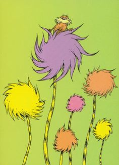 Truffula Trees & the Lorax - Dr Seuss ♥ Dr Seuss Trees, Lorax Trees, O Lorax, Truffala Trees, Dr Seuss Nursery, Dr Suess, Nursery Themes, Themed Nursery, Painted Rocks