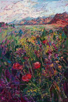 Coachella Valley oil painting of desert poppies.