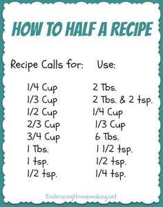 How to Half A Recipe!!!