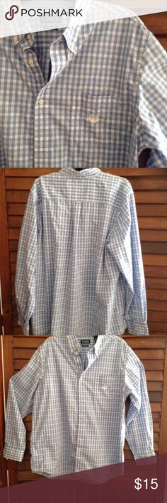 Very nice long sleeve men Chaps shirt Pretty blue and white checkered shirt, button down Chaps Shirts Casual Button Down Shirts