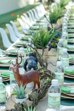 Take a look at this fun safari birthday party! Love the table settings! See more party ideas and share yours at CatchMyParty.com #catchmyparty #partyideas #safariparty #safari #safarianimals #tablesettings
