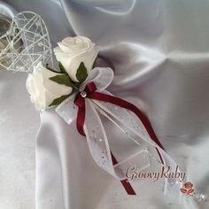 Silver Heart Flower Girl Wand With Burgundy Ribbons . Single Flower Bouquet, Flower Girl Wand, Single Flowers, Heart Flower, Wedding Wands, Wedding List, Bridesmaid Flowers, Wedding Flowers, Wedding Bouquets