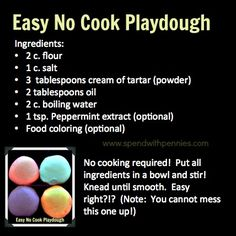Sounds like the no-fail playdough recipe we rocked out while teaching preschool! Sensory Activities, Toddler Activities, Preschool Activities, Preschool Learning, Sensory Rooms, Toddler Fun, Toddler Crafts, Toddler Bible, Cooked Playdough