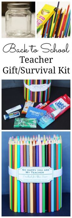 Back to school teacher survival kit is the perfect teacher gift. And you can put most anything inside, but she gives you some ideas for what to fill it with, too. New Teacher Gifts, Love Teacher, Back To School Teacher, Teacher Appreciation Week, New Teachers, Survival Kit Gifts, Survival Kit For Teachers, Teacher Survival, 5 Gifts