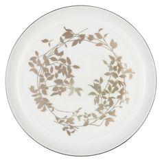 Buy John Lewis Contour Garland Bone China Side Plate, White/Platinum, Dia.18cm Online at johnlewis.com