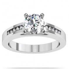 Channel Set Diamond Engagement Ring set in 18k White Gold  In stockSKU: S1031-18W