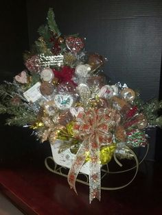 White and Gold Christmas candy bouquet.