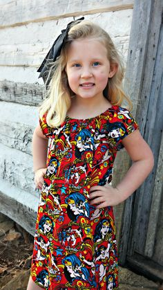 DC Comic Wonder Woman Peasant Dress by AlliegatorsCloset on Etsy