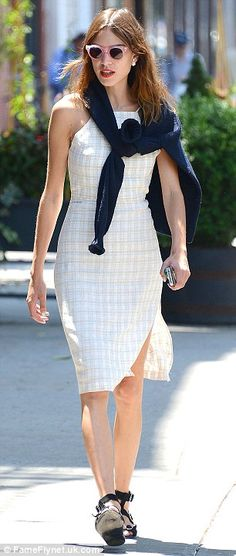 Just a leisurely stroll: The 30-year-old model and television presenter made her way throu...