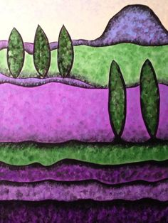 """Lavender Fields"" Original Artwork copyright SLHay Acrylics on 16x20 Canvas"