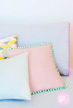 Charlotte love: Pastel & Neon - 91 magazine // pretty pastel pillows, love the Pom Pom trim Deco Pastel, Pastel Room, Home Decoracion, Diy Inspiration, Big Girl Rooms, Diy Pillows, New Room, Soft Furnishings, Girls Bedroom