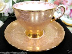 Tuscan Tea Cup and Saucer Pink Gold Gilt Chintz Teacup Pattern | eBay