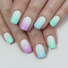 "Uñas & Maquillaje ♔ en Twitter: ""#Nails: Diseño en degradé con fucsia, azul claro y blanco ♥ https://t.co/zx5le6pc3A"""