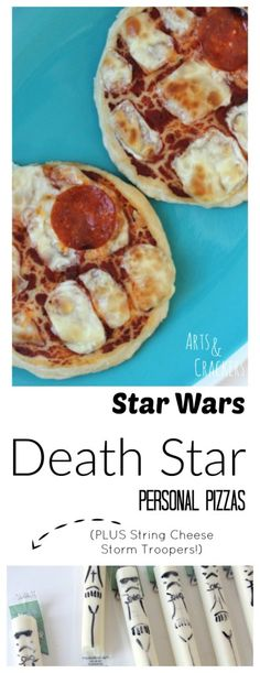 Star Wars Death Star Personal Party Pizzas and String Cheese Storm Troopers
