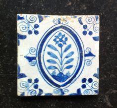 Antique Dutch Delft Tile Flower ''Ovaal Tile'' Circa 1625 -1650