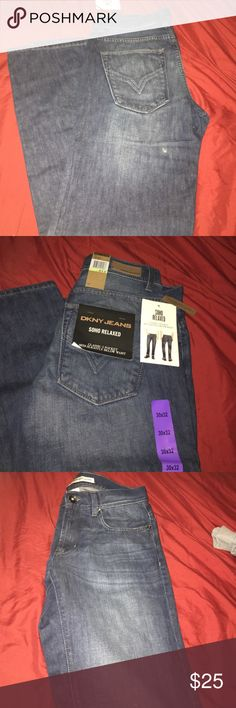 Mens- relaxed jeans DKNY jeans for men. Dark denim, but washed color down the pant leg. 5 pocket classic style. Soho relaxed jeans. 30x32 DKNY Jeans Relaxed