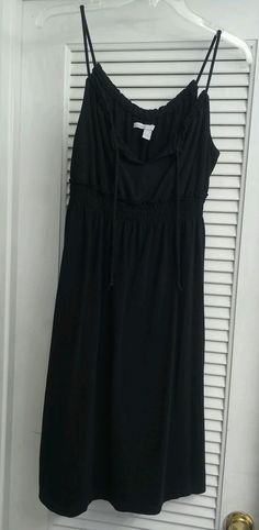 Old Navy Black Dress Cotton Spaghetti Straps Knee Length Solid Tie Boho Hippie S #OldNavy #Sheath #Casual