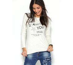 Tričko s dlhými rukávmi a štrasom   modino.sk #ModinoSK #modino_sk #modino_style #style #fashion #shirt Graphic Sweatshirt, T Shirt, Sweatshirts, Model, Sweaters, Fashion, Top, Tee, Moda