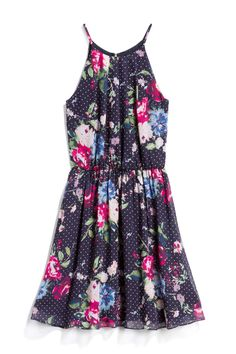 83aa0e1abd4b Fortune & Ivy Kamali Dress - Navy Blue & Pink Polka Dot Floral Halter Dress  -