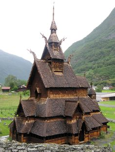 Borgund Stave Church (Norway) is a triple nave stave church of the so-called Sogn-type. It is the best preserved of Norway's 28 existant stave churches. It was built between 1180 & 1250 AD with later additions & restorations. Its walls are formed by vertical wooden boards (staves). The 4 corner posts are connected to one another by ground sills resting atop a stone foundation.The rest of the staves rise from the ground sills & have notched & grooved sides that interlock to form a sturdy wall