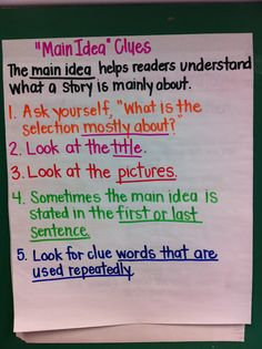 SL.2.2 Recount or describe key ideas or  details from a text read aloud or information presented orally or through other media.  Anchor chart (main idea)
