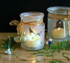 Pretty DIY Holiday Frosted Candle Jars