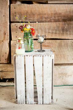 Tennessee Barn Wedding: Caroline & Scott's Tennessee Family Style Wedding Wooden Crates Wedding, Pallet Wedding, Diy Wedding, Rustic Wedding, Wedding Blog, Wedding Stuff, Mason Jar Flower Arrangements, Mason Jar Flowers, Mason Jars