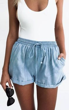 #summer #outfits | White one-piece swimsuit with linen denim