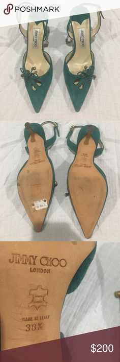 Jimmy Choo teal sling backs with 2 inch heel Jimmy Choo teal sling backs with 2 inch heel. Teal suede, leather sole, made in Italy. The real deal. Size 38 1/2 Jimmy Choo Shoes Heels