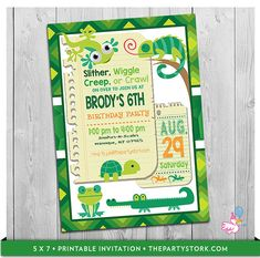 Reptile Party Invitation: Printable Boys Alligator Birthday Party Invitations | Frog, Iguana, Turtle, Lizard Invite | Green Bugs