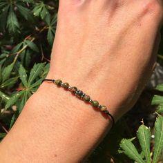 """Bracelet """"porte bonheur"""" unakite et argent 925"""