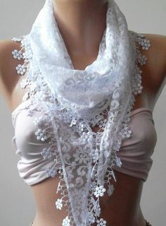 White  / Elegance  Shawl / Scarf With Lacy Edge By Womann On Etsy, $19.90