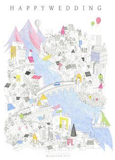 ケンチクイラストレーター、イスナデザイン『出発のまち』 #建築 #パース #マップ #地図 #イラスト #色鉛筆 #archiecture #map #illustration #isnadesign #furniture #design